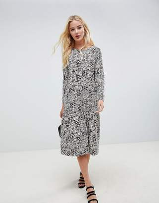 Asos DESIGN midi smock dress in animal print with long sleeves
