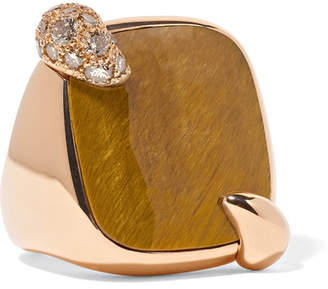 Pomellato 18-karat Rose Gold, Tiger Eye And Diamond Ring