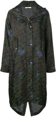 Odeeh camouflage print parka coat