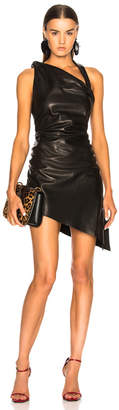 Saint Laurent Draped Leather Mini Dress
