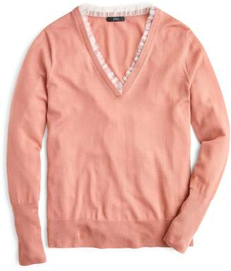 J.Crew Tulle Trim V-Neck Sweater