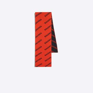 Balenciaga Stretch wool scarf with logo allover