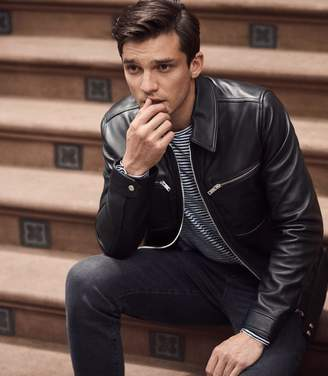Reiss FENWICK LEATHER JACKET Black