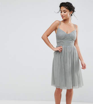 Little Mistress Petite All Over Tulle Prom Skater Dress With Corset Detail