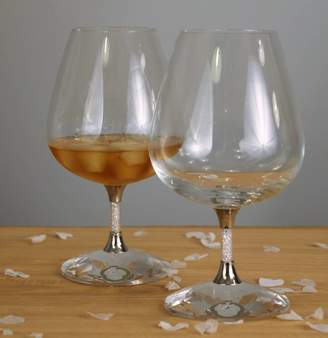 Swarovski Diamond Affair Pair Of Brandy Glasses Filled With Crystals
