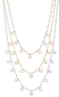 Crystal and Sterling Silver Star, Quatrefoil and Teardrop Multi-Strand Necklace