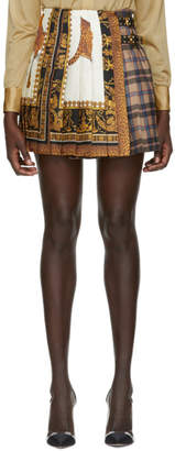 Versace Multicolor Tartan Silk Pleated Miniskirt