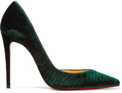 Christian Louboutin - Iriza 100 Croc-effect Velvet Pumps - Emerald