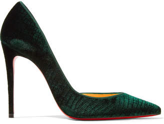 Christian Louboutin Iriza 100 Croc-effect Velvet Pumps - Emerald