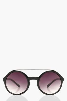 boohoo Metal Arm Oversized Round Sunglasses