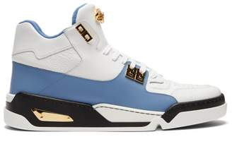 Versace High Top Leather Trainers - Mens - White