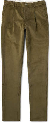 De Bonne Facture Tapered Pleated Cotton-Corduroy Trousers