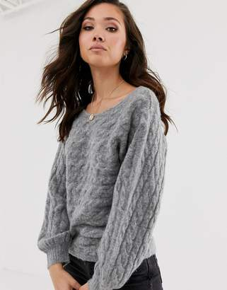 Abercrombie & Fitch high neck knit jumper in grey heather