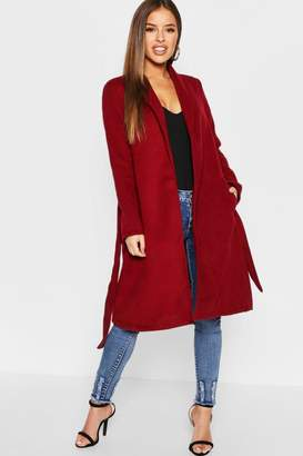 boohoo Petite Shawl Collar Belted Coat