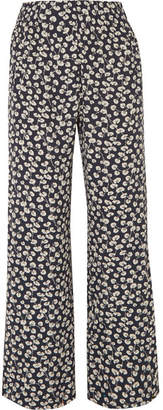Ganni Roseburg Printed Crepe De Chine Straight-leg Pants - Navy