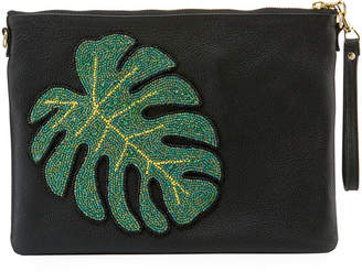 Tea & Tequila Monstera Leaf Chain Clutch Bag, Black