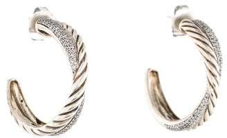David Yurman Diamond Crossover Hoop Earrings