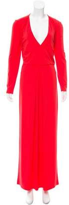 Halston Long Sleeve Surplice Dress w/ Tags