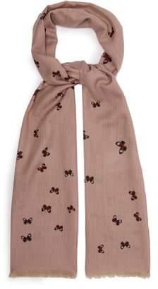 Bottega Veneta Butterfly Embellished Cashmere Scarf - Womens - Pink