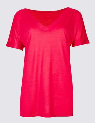Marks and Spencer V-Neck Short Sleeve Mercerised T-Shirt