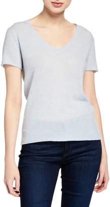 ATM Anthony Thomas Melillo Cashmere V-Neck Short-Sleeve Sweater Top