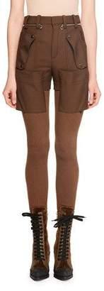 Chloé Wool Gabardine w/ Bi-Fabric Knit Legging Pants