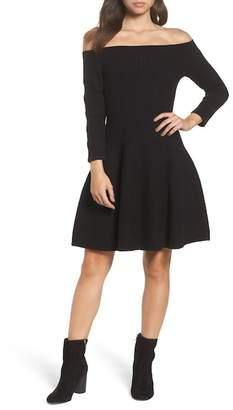 Eliza J Off the Shoulder Fit & Flare Dress