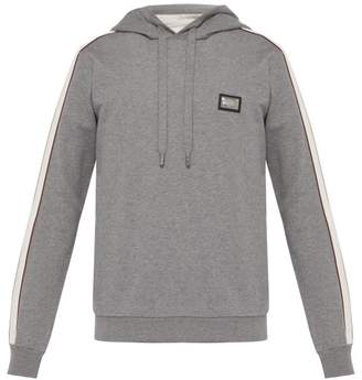 Dolce & Gabbana Side Stripe Cotton Blend Hooded Sweatshirt - Mens - Grey