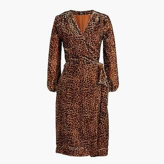 J.Crew Wrap dress in drapey velvet blush leopard