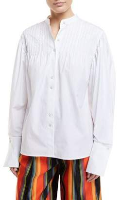 Diane von Furstenberg Long-Sleeve Button-Front Pintuck Cotton Shirt