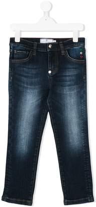 Philipp Plein Junior logo appliqué faded jeans