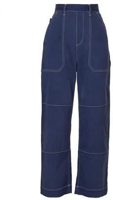 Chloé Contrast Stitched Cotton Blend Wide Leg Jeans - Womens - Denim