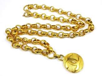Chanel Gold Tone Hardware Coco Mark CC Logo Pendant Necklace