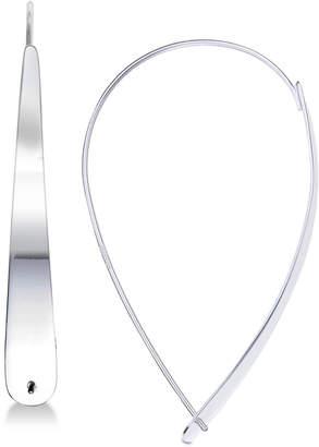 Unwritten Large Flat Teardrop Hoop Earrings in Sterling Silver