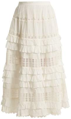 Zimmermann - Corsair Lace And Ruffle Trimmed Cotton Skirt - Womens - Ivory