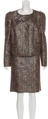 Prada Metallic Skirt Suit