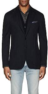 Luciano Barbera Men's Cotton-Blend Jersey Two-Button Sportcoat-Navy