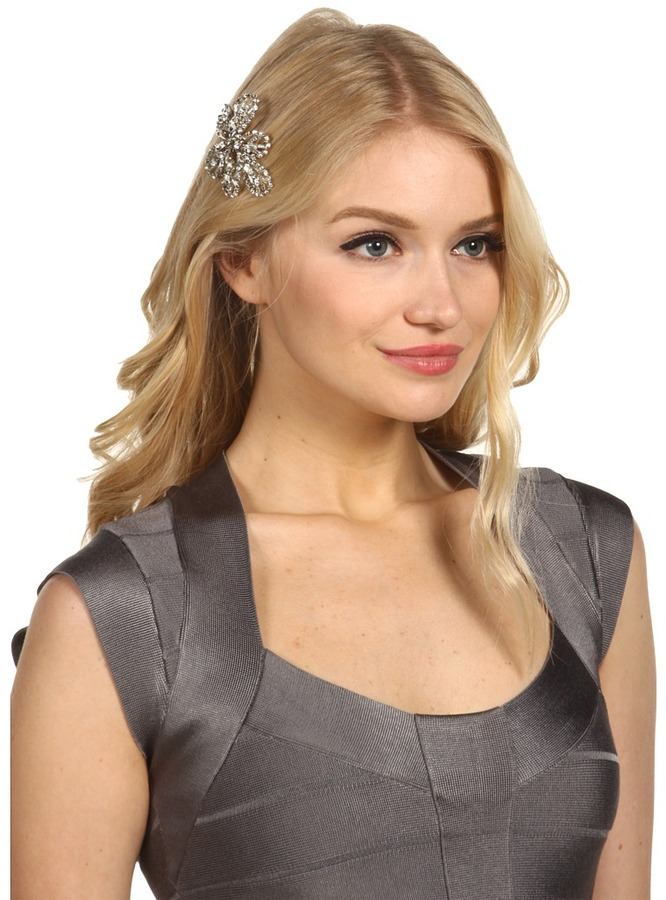 Nina Bendable Flower Crystal Hair Comb (Silver) - Accessories