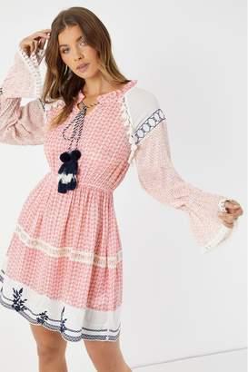 boohoo Womens Embroidered Pom-Pom Skater Dress - Pink