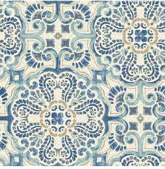 Brewster Home Fashions Blue Florentine Tile Peel and Stick Wallpaper