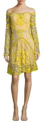 Thurley Marigold Embroidered Off-The-Shoulder Bell-Sleeve Dress