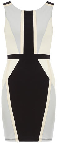 Doll & Frog leather look colour block bodycon dress