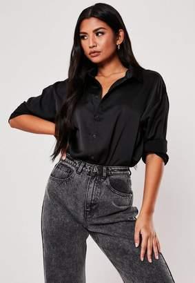 Missguided Black Satin Longline Extreme Oversized Shirt