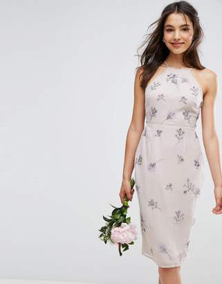 Asos Design Bridesmaid Embellished Drape Back Midi Dress