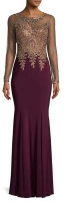 Xscape Mesh Gold Embroidery Gown $319 thestylecure.com