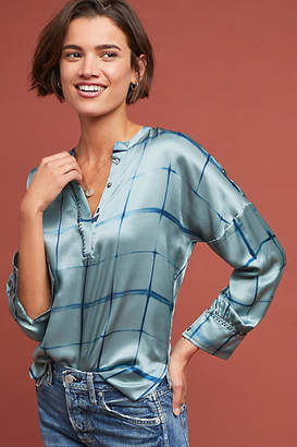 Duet Silk Windowpane Blouse