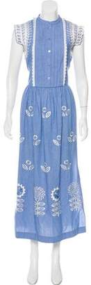 Temperley London Gilda Chambray Embroidered Dress