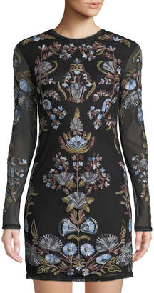 Free People Royale Embroidered Long-Sleeve Bodycon Dress