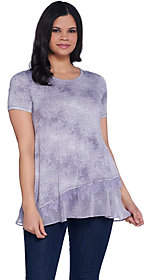 LOGO by Lori Goldstein Printed Short Sleeve Topw/ Lace Detail