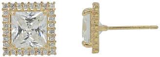 FINE JEWELRY Diamonart 10K Yellow Gold Cubic Zirconia 2.28 CT. T.W Princess Cut Halo Stud Earrings